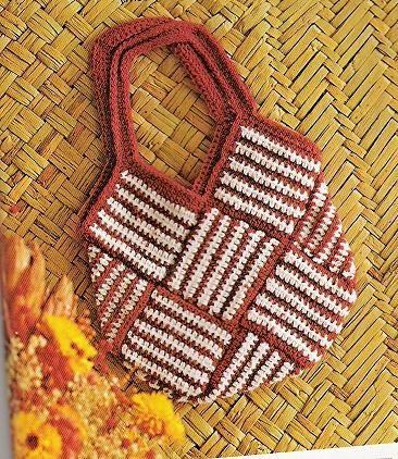 striped square tote bag, vintage pattern