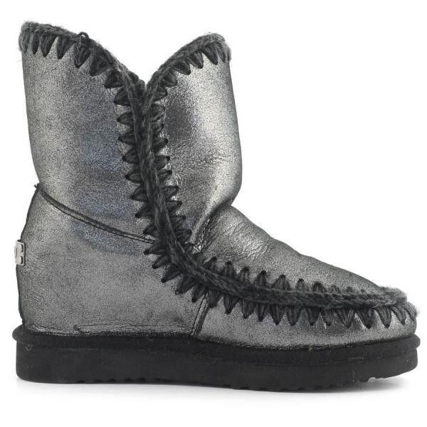 MOU Eskimo Wedge Short Boots Women Microglitter Black - MOU