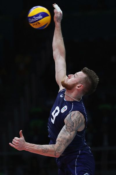 Ivan Zaytsev of Italy in action during the Men's Volleyball Semifinal match on Day 14 of the Rio 2016 Olympic Games at the Maracanazinho on August 19, 2016 in Rio de Janeiro, Brazil.