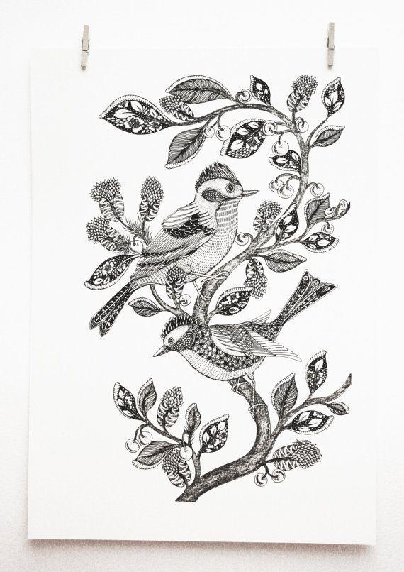 Birds Art Print Nature Art Tree Botanical Art Pen & by MenisArt