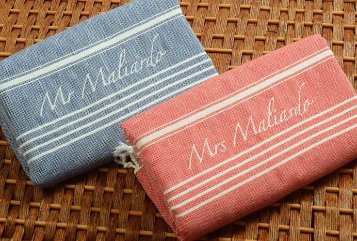 Set of 2 Classic COTTON PESHTEMAL Personalized Turkish Towels - Monogrammed Embroidered - Dark Blue/Red by NaturalSoft on Etsy https://www.etsy.com/listing/201909096/set-of-2-classic-cotton-peshtemal