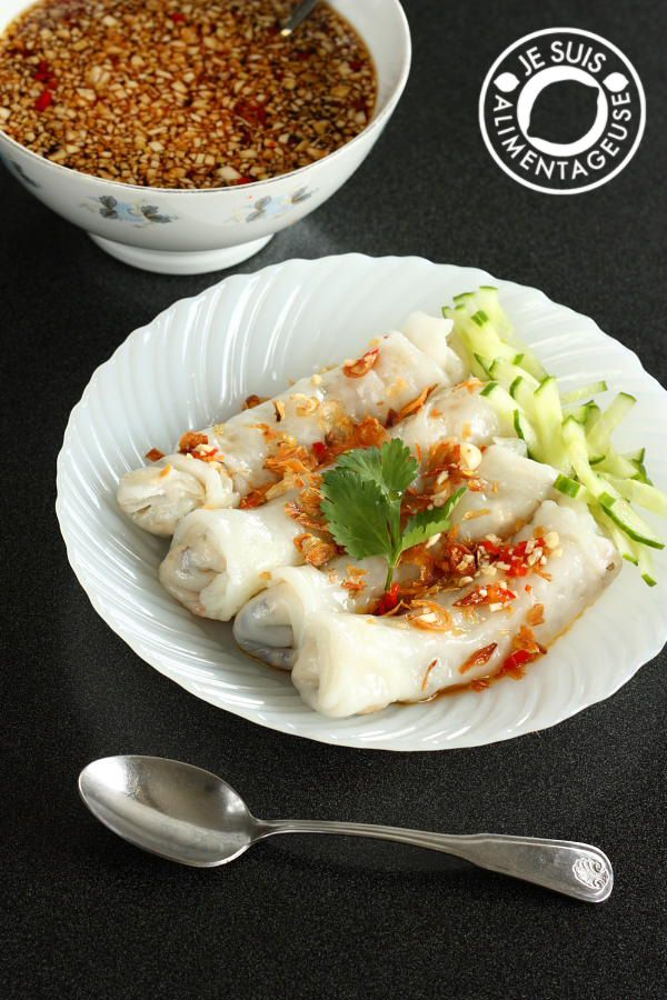 Bánh cướn chay - Vietnamese Vegetarian Stuffed Rice Rolls from alimentageuse.com