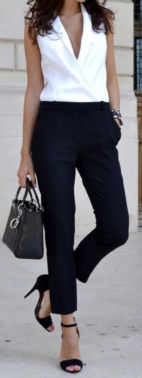 Best 25 black pants ideas on pinterest - Tenue plage femme ...