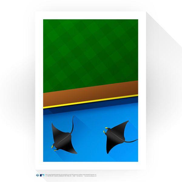 "Tampa Bay Rays 14"" x 20"" Tropicana Field Rays Touch Tank Minimalist Art Giclee Print - $99.99"