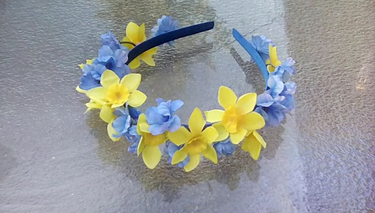 Spring Daffodils and Blue Flower Crown, Blue and Yellow Flower Headband, Daffodils Floral Crown, Spring Wedding, Yellow Daffodil Headpiece by FairyFlowerDreams on Etsy