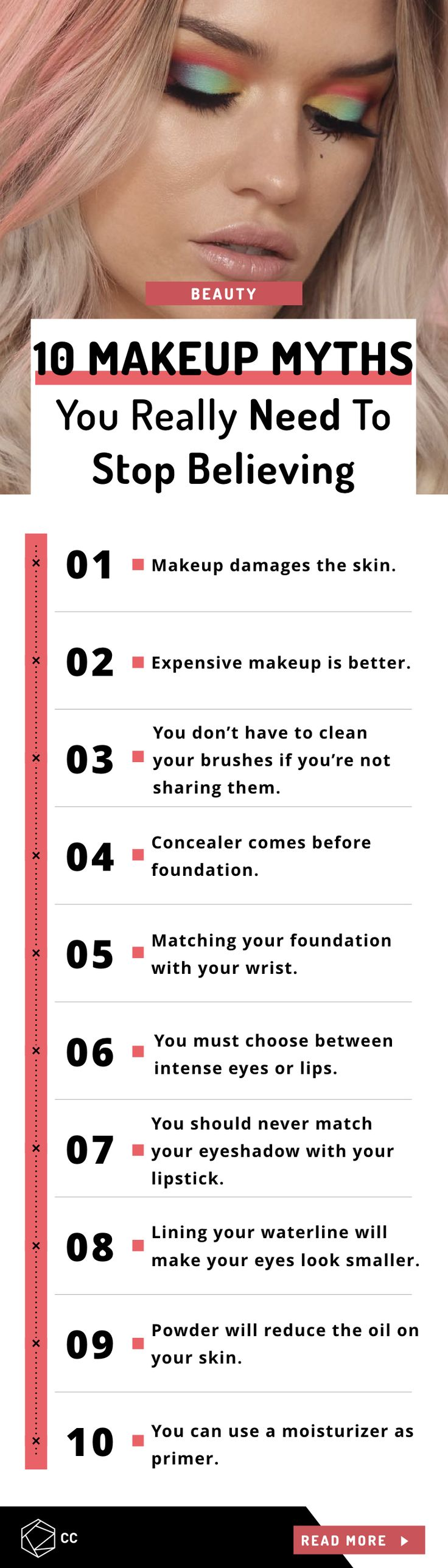10 Common Myths You Need To Stop Believing When It Comes To Makeup  #makeup #beauty #makeupfacts #skincare #wellness