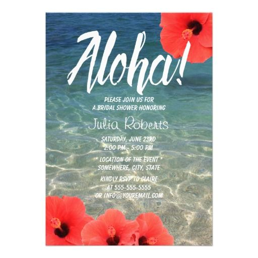 283 best beach bridal shower invitations images on pinterest hawaiian hibiscus tropical beach bridal shower invitation filmwisefo