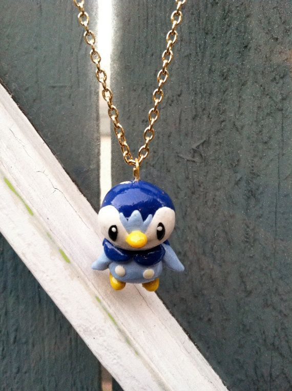 Pokemon Necklace Piplup Polymer Clay Charm by PokemonCharms