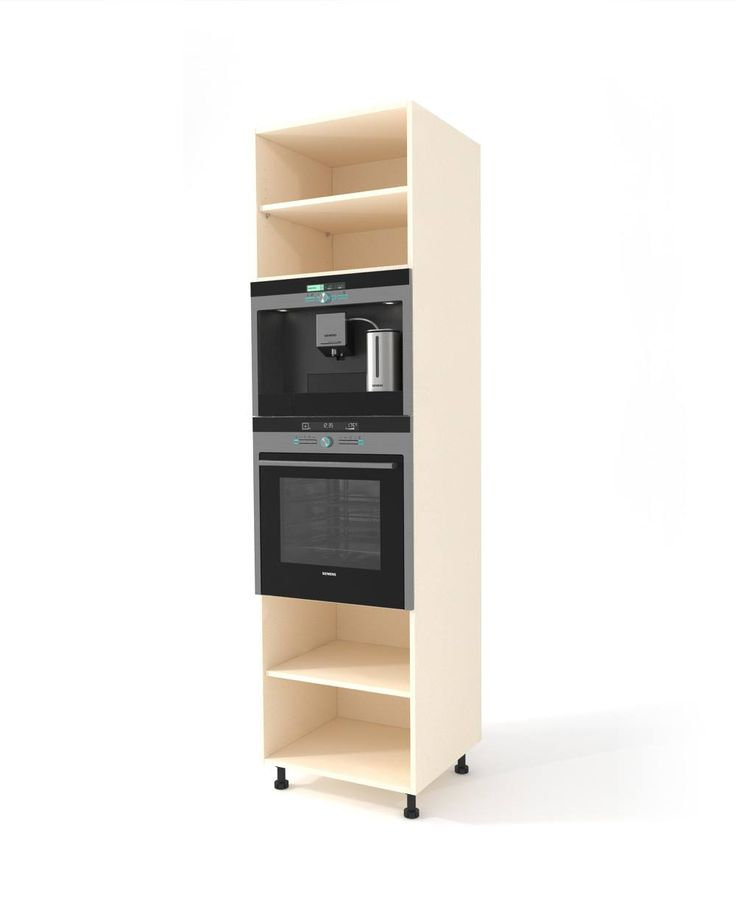 Oak high oven cabinet h-228 cm A specially adapted high floor cabinet to install one or two electrical appliances such as oven, steam oven, built-in coffee machine, microwave etc. Complete the cabinet by placing a door or 2-5 drawers at the bottom. At the top you will use an openable door or if the height does not exceed 60 cm, an Aventos mechanism. Easy to mount