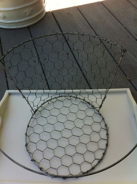 DIY Chicken Wire Basket.I'm thinking an old lamp shade and some chicken wire and done!