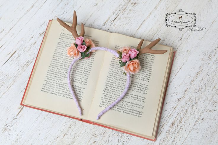 Antler headband,Deer flower crown,Woodland,Fairy tale,birthday,forest creatures,nature inspired,photo prop,spring photo session,high tea by OhDearAccessories on Etsy