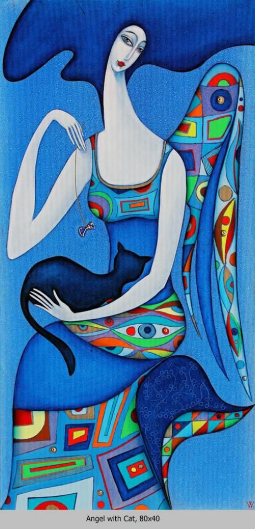 "Wlad Safronow - ""Angel with Cat - Blue"" ✿≻⊰❤⊱≺✿                                                                                                                                                                                 Mehr"