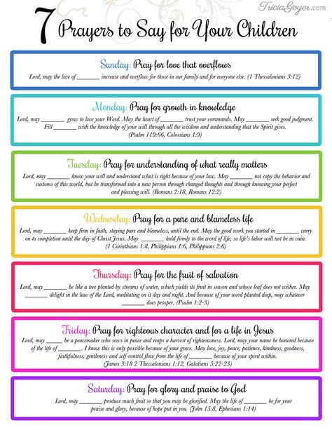 Tricia Goyer breaks down Philippians 1:9-11 into 7 prayers to say for your kids each week. TriciaGoyer.com