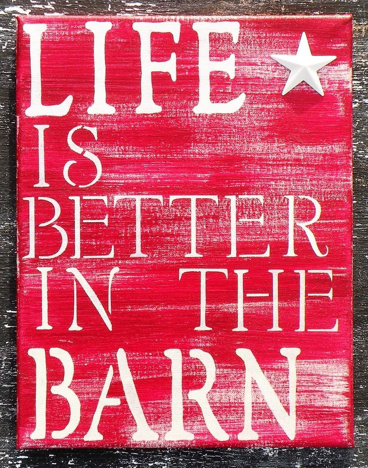 Rustic Farmhouse Décor Hand Painted Quote Sign Life is Better in the Barn Red Canvas Painting Hand Made Distressed Barn Wood Style Painting Wall Art. Life is Better in the Barn! Even if you live in the city, spend some time dreaming about the country with this sign. Painting Size is 11x14 Canvas. NOW AVAILABLE IN PINE WOOD DISTRESSED BY HAND! Color is Cherry Red layered over Ivory with White lettering. * Comes with your choice of a White Barn Star, Black Barn Star, Rusty Rooster, Rusty…