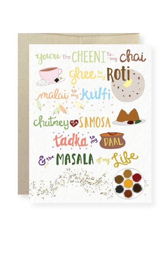 Masala Of My Life Indian Vday Indian Food Chai Pyarful Etsy Chai Sweet Cards Samosa