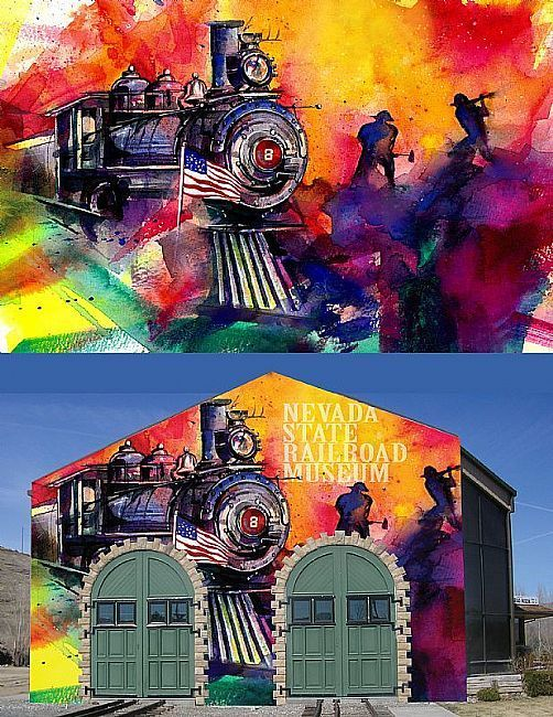 Concept mural painting for the Nevada State Railroad Museum.