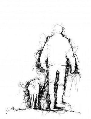 Adrienne Wood - thread drawing - man walking dog in black thread on white ground
