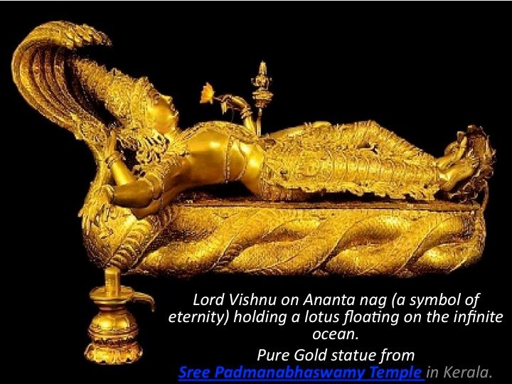 Pure Gold statue from Sree Padmanabhaswamy Temple in Kerala.