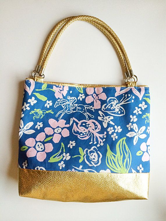 Gold Tote /derby tote /gold bag /preppy