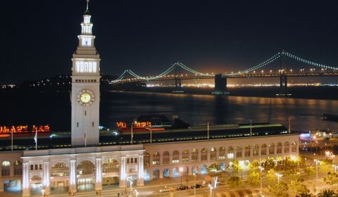San Francisco's Ferry Building overlooking the Bay Bridge