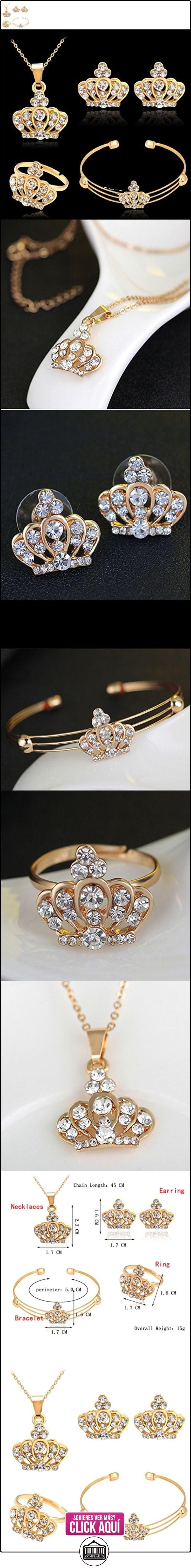 Joyería Collar Corona Pendiente Anillo Pulsera Diamantes de Imitación para Mujeres Boda Partido  ✿ Joyas para mujer - Las mejores ofertas ✿ ▬► Ver oferta: https://comprar.io/goto/B01IR7Y5EO