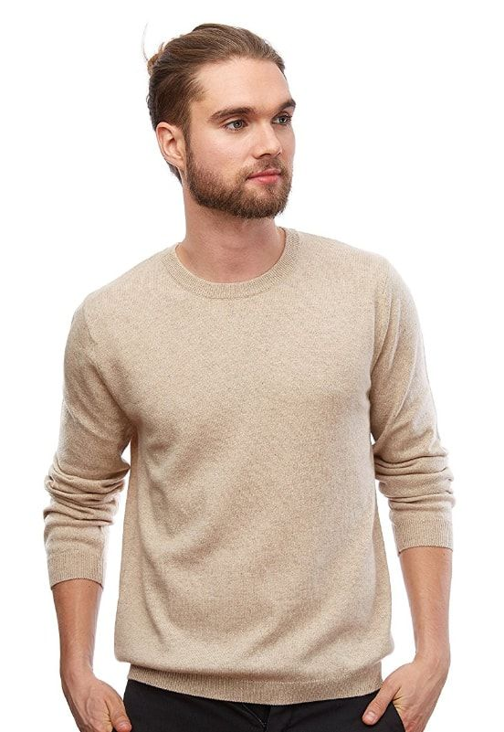f6569c154f MoonCats Men s 100% Cashmere Crew Neck Sweater Long Sleeve Solid Pullover