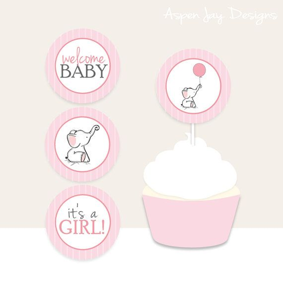 Pink Elephant Baby Shower Cupcake Toppers And Cupcake Wrappers   Printable  Download   Pink Girl Baby