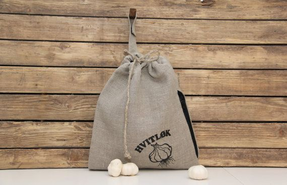 Linen Garlic Bag by lininline on Etsy