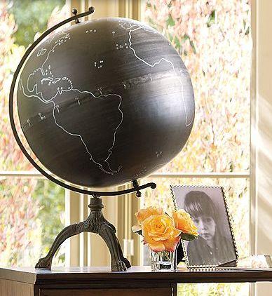 chalkboard paint globe!