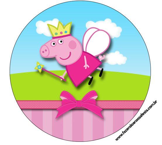 Rótulos para: Latinha,Gelatina,Tampinhas,Adesivos,Marmita Redonda e Toppers Cupcakes Peppa Pig Princesa: