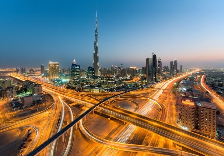 A beautiful twilight view of the Defence Roundabout, the busiest interchange in Dubai.