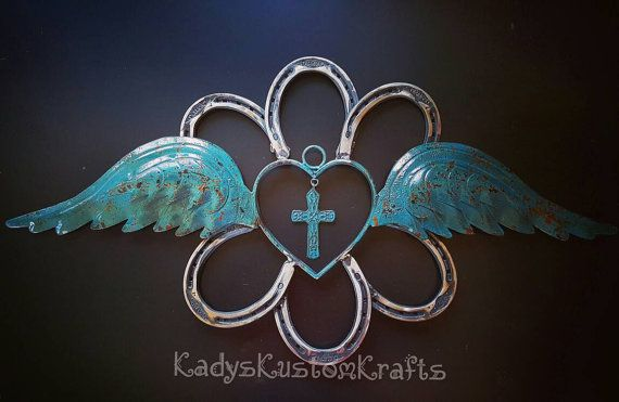 Rustic Horseshoe Wreath Angel wings Angel by KadysKustomKrafts