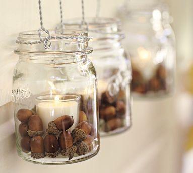 acornDecor Ideas, Fall Decor, Autumn, Coffee Beans, Jar Candles, Candles Holders, Falldecor, Coffe Beans, Mason Jars Candles