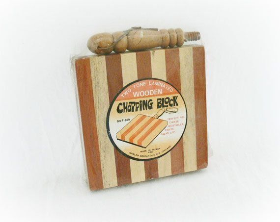 Vintage 70s Striped Wood Chopping Block NOS at PaddywhackKnickKnack, $29.00