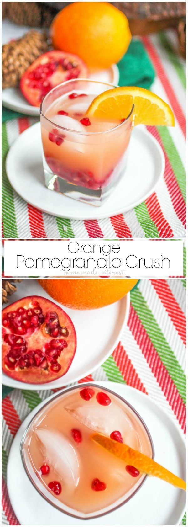 Celebrate on New Year's Eve with this pretty and delicious drink recipe! This Orange Pomegranate Crush is an easy drink recipe made with orange, pomegranate, vodka and triple sec. It is a great easy drink recipe for New Year's Eve!