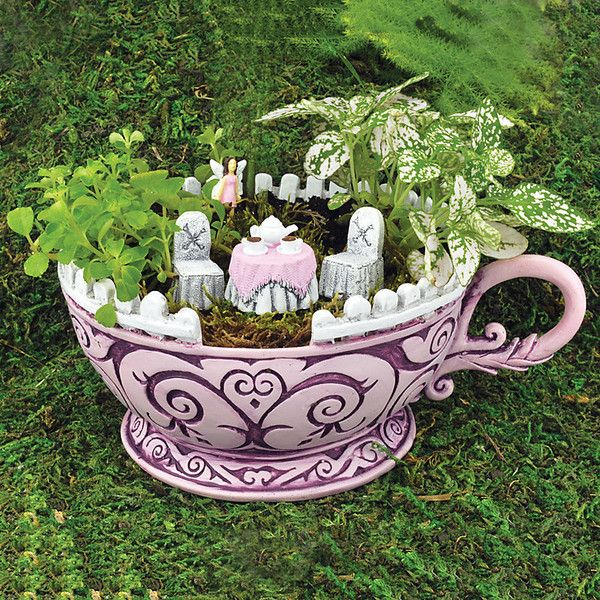 Awesome Improvements Wonderland Pink Teacup Fairy Garden ($37) ❤ Liked On Polyvore  Featuring Home,