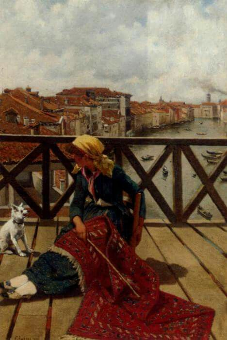 A Distraction On The Accademia Bridge Venice | Franz Leo Ruben | German (1842-1920)