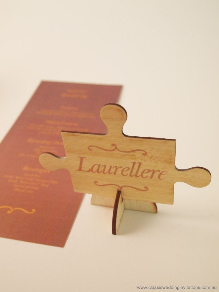 Puzzle piece placecards - http://www.classicweddinginvitations.com.au/placecards/- Placecards from $4.00 each