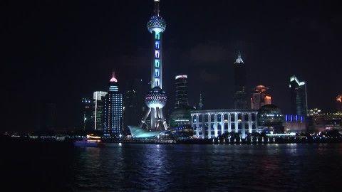 Jin Mao Tower, Adrian Smith, Oriental Pearl TV Tower, Huangpu (River), Pudong, Illuminated Advertising, Architectural Icon, Skyline (City Silhouette), Landmark (Sights), Night, Megacity, Travel Destination, Metropolis (City), Stock Footage,