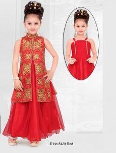 Wedding Wear Red Net Embroidered Work Kids Wear Anarkali Suit