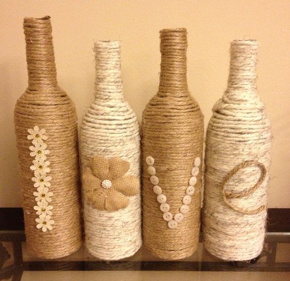 Shabby chic jute and yarn 39 love 39 bottles have you - Como decorar botellas ...
