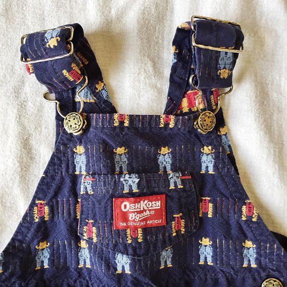 Vintage OshKosh Blue Cowboy Dungarees // 12m