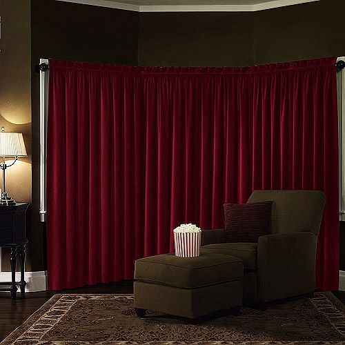 Velvet Blackout Home Theater window curtain is a lovely and versatile choice.We recomend using two panels for average 40″-48″ window Insulates to reduce energy usage $25-$30, also in black, chocolate and olive green