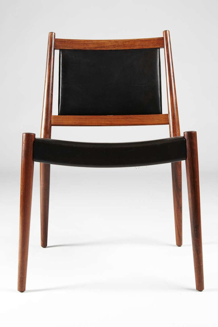 Steffan Larsen Rosewood and Black Leather Dining Chairs image 5