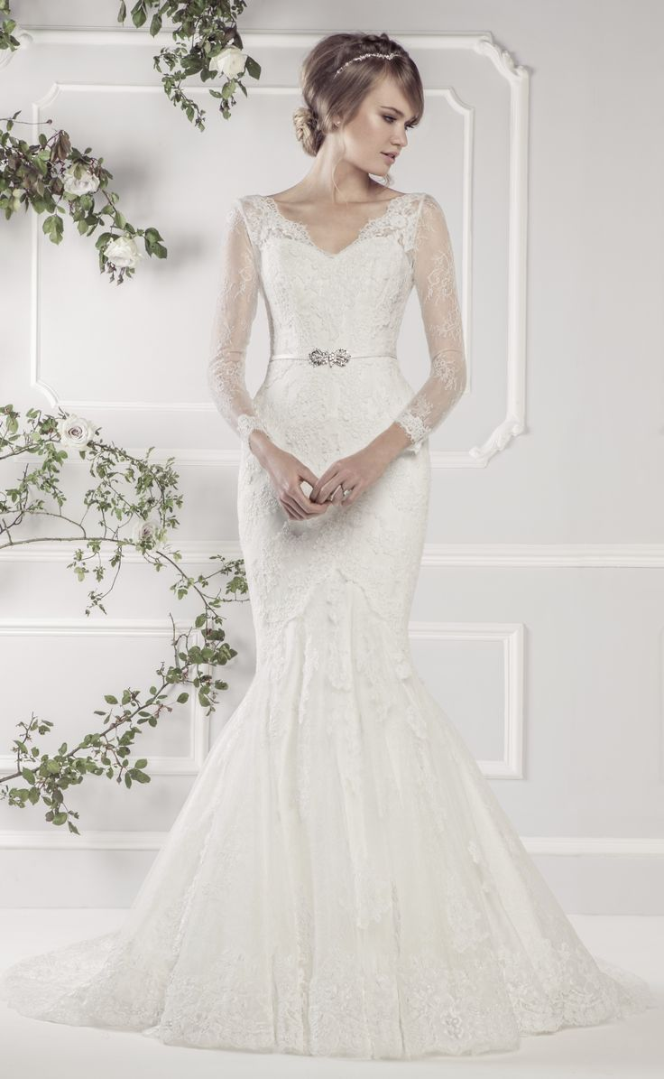 elegant wedding dress with long sleeves for older bride