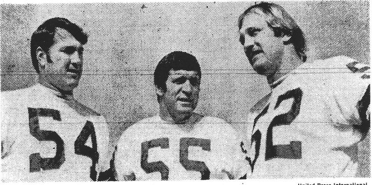 Linebackers CHUCK HOWLEY (54), LEE ROY JORDAN (55) and DAVE EDWARDS (52), pre-Super Bowl VI