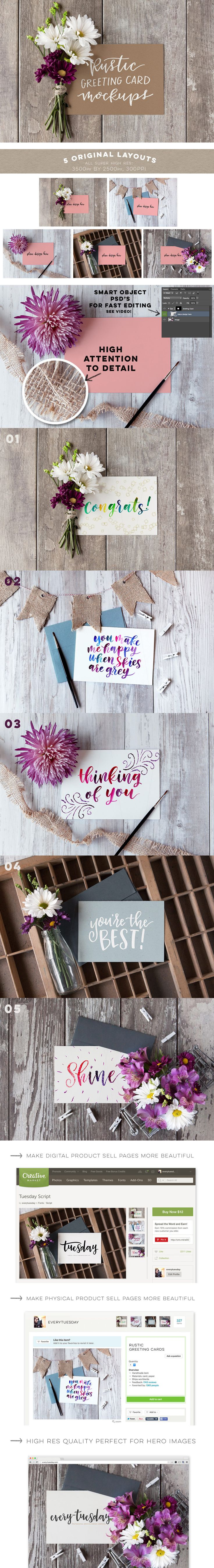 5 Rustic Greeting Card Mockups, available here! https://every-tuesday.com/rustic-cards