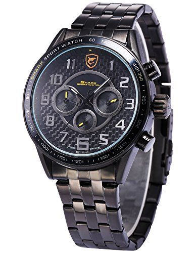 Bild Shark Herren Edelstahl Armband Datumanzeige…
