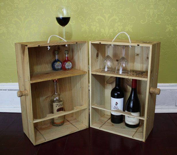 Make a Mini Bar With Two Wine Crates >> http://blog.diynetwork.com/maderemade/how-to/transform-wooden-wine-crates-into-a-great-minibar/?soc=pinterest
