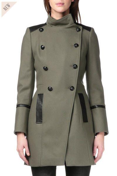 Manteau Femme Monshowroom, craquez sur le Manteau laine Allyo Vert Naf Naf prix Monshowroom 150.00 € TTC.